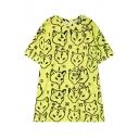 Cartoon Fox Pattern Round Neck Short Sleeve Loose Leisure Tunic T-Shirt
