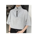 New Arrival High Neck Short Sleeve Chic Zip Up Plain Leisure Pullover T-Shirt