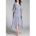 Floral Printed Wrap V Neck Half Sleeve Ribbons Waist Midi Asymmetrical Dress