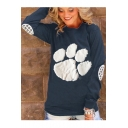 Women's Animal Claw Printed Long Sleeve Round Neck T-Shirt