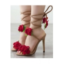Women's Elegant Floral Appliqued Tied Bandage High-Heeled Sandal