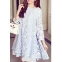 Elegant Long Sleeve Round Neck Plain Lace Mini Swing Dress