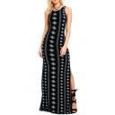 Fashion Sleeveless Split Side Tied Back Geometric Printed Maxi Dress