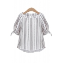 Boat Neck Half Sleeve Bow Tie Cuff Striped Printed Pullover Blouse