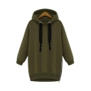 Oversize Long Sleeve Plain Zip Design Side Leisure Tunic Hoodie