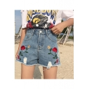 Summer's High Rise Floral Embroidered Ripped Raw Edge Denim Shorts