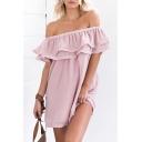 Plain Ruffle Hem Off The Shoulder Chiffon Mini Beach Dress