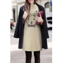 Cute Cartoon Rabbit Printed Long Sleeve Round Neck Mini Sweatshirt Dress