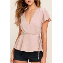 New Arrival Wrap V Neck Short Sleeve Tie Waist Plain Pullover Blouse