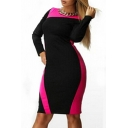 Fashion Oversize Color Block Long Sleeve Round Neck Midi Pencil Dress