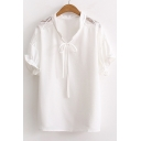 Simple Plain Round Neck Short Sleeve Bow Tie Front Cut Out Pullover Blouse