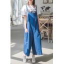 New Arrival Loose Plain Wide Legs Denim Overalls