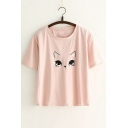 Adorable Cartoon Cat Printed Short Sleeve Round Neck Tee
