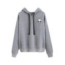 Drawstring Hooded Embroidery Alien Pattern Long Sleeve Hoodie Sweatshirt