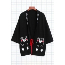 Lovely Cartoon Bear Printed Chic Tie Front Kimono Coat for Couple