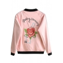 Fashion Embroidery Floral Pattern Raglan Long Sleeve Zipper Placket Bomber Jacket