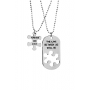 Stylish Patched Letter Printed Necklace for Couple