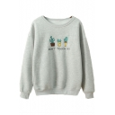 Letter Cactus Embroidered Round Neck Long Sleeve Basic Pullover Sweatshirt