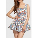 New Arrival Floral Printed Square Neck A-Line Mini Tea Dress