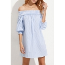 Women's Off the Shoulder Striped 3/4 Length Sleeve Mini Swing Dress