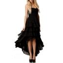 Glamorous High Low Hem Sleeveless Strapless Plain Asymmetric Tube Dress