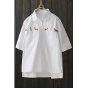 Lapel Collar Half Sleeve Embroidered High Low Hem Pullover Blouse