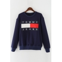 New Arrival Letter Printed Round Neck Long Sleeve Pullover Sweatshirt