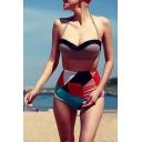 New Fashion Halter Neck Push Up Top Color Block High Waist Bottom Swimwear