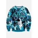 Fashion Floral Skull 3D Printed Long Sleeve Round Neck Pullover Sweatshirt