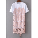 New Stylish Lace Patchwork Short Sleeve Round Neck False Two-Pieces Mini T-Shirt Dress