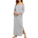 Casual Off the Shoulder 3/4 Length Sleeve Split Sides Plain Maxi Dress