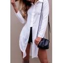 New Fashion Lapel Collar Long Sleeve Split Side Plain Asymmetrical Shirt