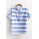 Classic Striped Print Lapel Collar Short Sleeve Buttons Down Pullover Blouse