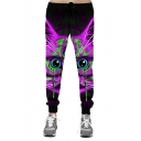 Digital Cartoon Cat Eyes Printed Drawstring Waist Oversize Sports Pants