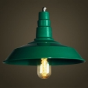 Industrial Style Mini 1 Light  Pendant Lamp in Green Finish