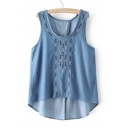 Summer's Chic Embroidered Sleeveless Split Back High Low Hem Denim Tank