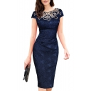 Women's Elegant Short Sleeve Round Neck Lace Midi Pencil Dress