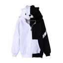 Cartoon Printed Chic Color Block Long Sleeve Zip Placket Warm Hoodie