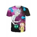 Digital Cartoon Pattern Round Neck Short Sleeve Leisure Pullover T-Shirt
