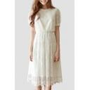 Women's Short Sleeve Round Neck Plain Midi Lace A-Line Dress