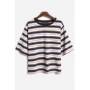 Fashion Striped Color Block Half Sleeve Round Neck Loose Tee