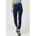 High Waist Plain Super Skinny Basic Capris Jeans