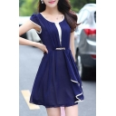 Glamorous Round Neck Short Sleeve Ruched Ruffle Hem Plain Mini A-Line Chiffon Dress