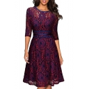 Elegant Round Neck 3/4 Length Sleeve Floral Lace Midi A-Line Dress