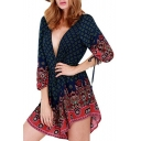 Sexy Plunge V-Neck 3/4 Length Sleeve Color Block Printed Rompers