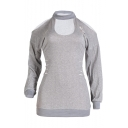 New Arrival Round Neck Long Sleeve Cut Out Plain Loose T-Shirt