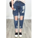 Fashion Ripped Cutout Plain Mid Waist Straight Jeans