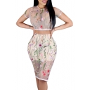 New Sexy Sheer Mesh Floral Embroidered Round Neck Short Sleeve Tee with Bodycon Skirt