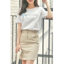 Letter Printed Round Neck Short Sleeve Leisure Tee with Plain Mini Pencil Skirt