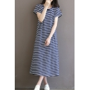 Retro Striped Print Round Neck Short Sleeve Cotton Maxi Leisure T-Shirt Dress